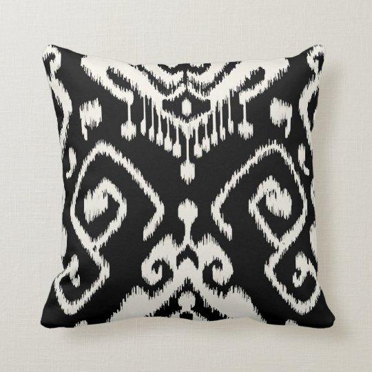 Modern chic decorative black and white ikat pillow Zazzle