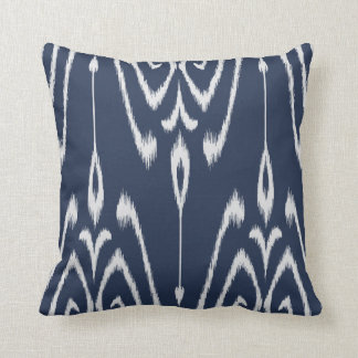 Modern chic decorative blue and white ikat pillow