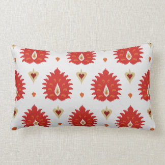 Modern chic decorative red gold white ikat pillow