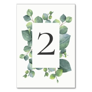 Modern Chic Eucalyptus Foliage Table Number Card