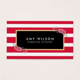 Modern Chic Fashion Stylist Pink Stripes Floral Business Card