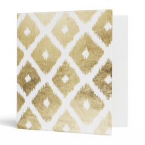 Modern chic faux gold leaf ikat pattern binder