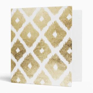 Modern chic faux gold leaf ikat pattern binder