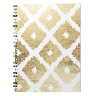 Modern chic faux gold leaf ikat pattern spiral notebooks