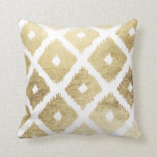 Modern chic faux gold leaf ikat pattern pillow