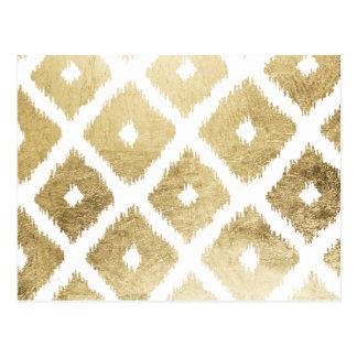 Modern chic faux gold leaf ikat pattern postcard