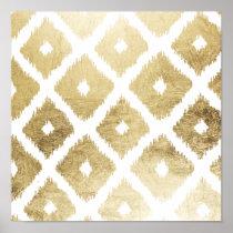 Modern chic faux gold leaf ikat pattern poster
