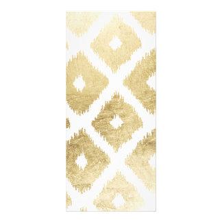 Modern chic faux gold leaf ikat pattern rack card