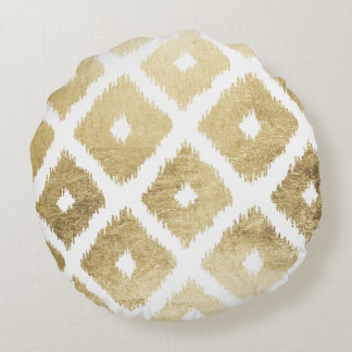 Modern chic faux gold leaf ikat pattern round pillow