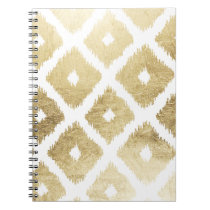 Modern chic faux gold leaf ikat pattern spiral notebook