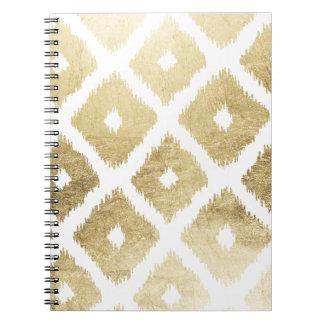 Modern chic faux gold leaf ikat pattern spiral notebook
