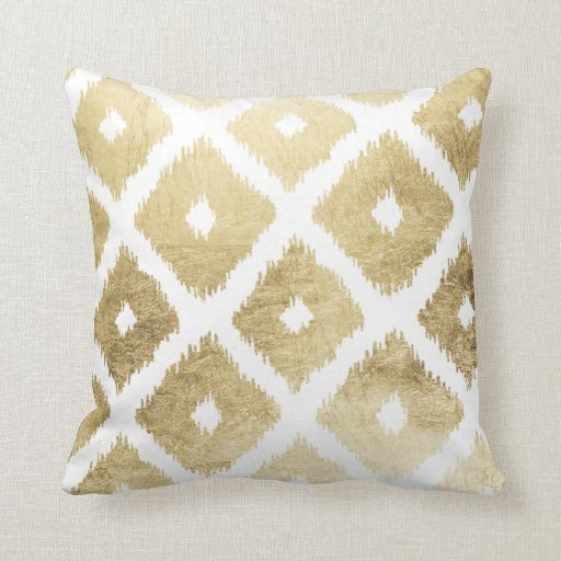 Modern Leaf Throw Pillow : Modern chic faux gold leaf ikat pattern throw pillow Zazzle