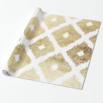 Modern chic faux gold leaf ikat pattern wrapping paper