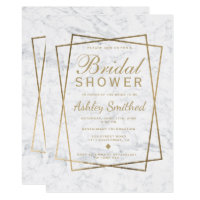 Modern chic faux gold script marble bridal shower card
