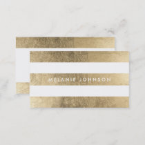 Modern chic faux gold stripes pattern professional business card