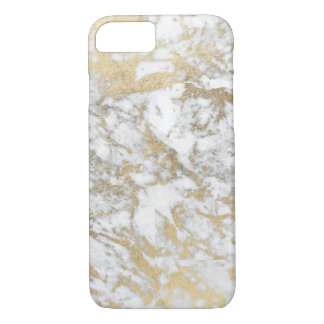 Modern chic faux gold white elegant marble iPhone 8/7 case
