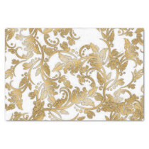 Modern chic faux gold white glitter flowers tissue paper