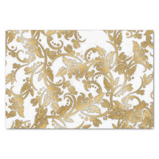 Modern chic faux gold white glitter flowers tissue paper