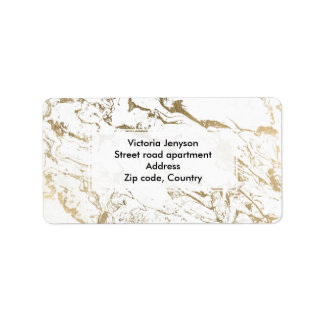 Modern chic faux gold white marble pattern label