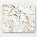 """Modern chic faux gold white marble pattern mouse pad<br><div class=""""desc"""">A cool,  original and modern faux  gold foil and white marble pattern. A chic and elegant design with a luxurious touch.</div>"""