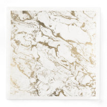 Modern chic faux gold white marble pattern paper dinner napkin