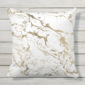 Modern chic faux gold white marble pattern throw pillow