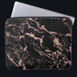 "Modern chic faux rose gold foil black marble computer sleeve<br><div class=""desc"">A cool,  unique ,  modern and trendy faux rose gold foil and black marble design.</div>"