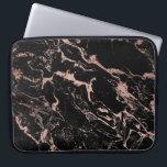 """Modern chic faux rose gold foil black marble computer sleeve<br><div class=""""desc"""">A cool,  unique ,  modern and trendy faux rose gold foil and black marble design.</div>"""