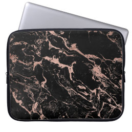 Modern chic faux rose gold foil black marble computer sleeve