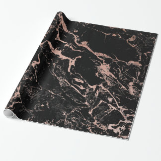 Modern chic faux rose gold foil black marble wrapping paper