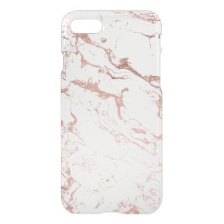Modern chic faux rose gold white marble iPhone 7 case