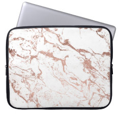 Modern Chic Faux Rose Gold White Marble Laptop Sleeve at Zazzle