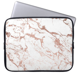 Modern chic faux rose gold white marble laptop sleeve