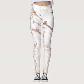Modern chic faux rose gold white marble leggings