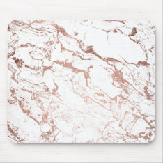 Modern Chic Faux Rose Gold White Marble Mouse Pad at Zazzle