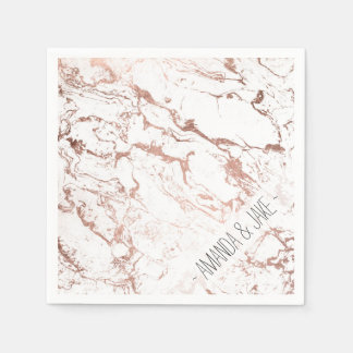 Modern chic faux rose gold white marble paper napkin