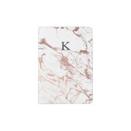 Modern chic faux rose gold white marble passport holder