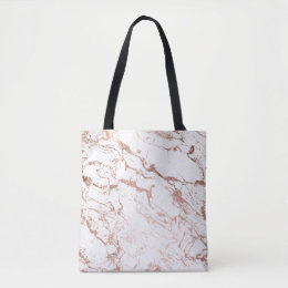 Modern chic faux rose gold white marble tote bag