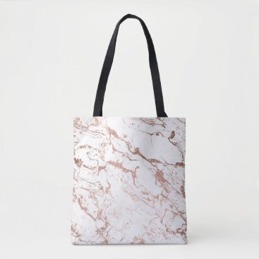 girly_trend Modern chic faux rose gold white marble tote bag