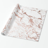 Modern chic faux rose gold white marble wrapping paper