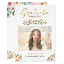 Modern Chic Floral Gold Graduate Graduation Party Card