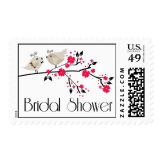 Modern chic floral love birds bridal shower stamps