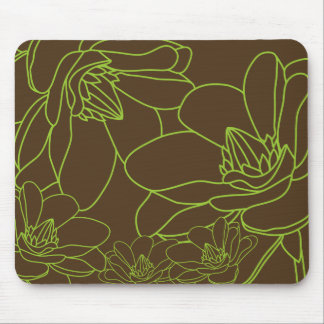 Modern Chic Floral Mousepad - Green and Brown