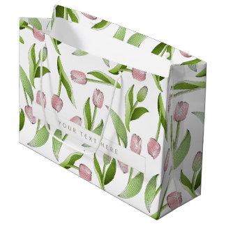 Modern Chic Floral Pattern Pink Tulip Large Gift Bag