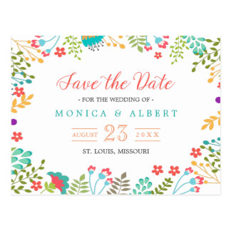 Modern Chic Floral Save the Date Postcard