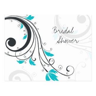 Modern chic floral swirls bridal shower invitation postcard
