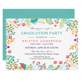 Modern Chic Fresh Floral 2017 Graduation Party Card