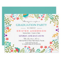 Modern Chic Fresh Floral 2018 Graduation Party Card