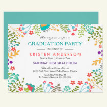 Modern Chic Fresh Floral 2018 Graduation Party Invitation