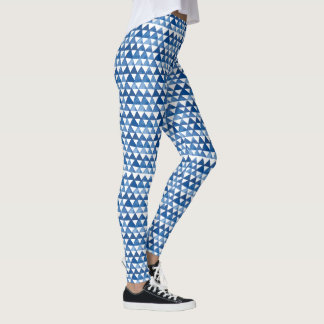 Modern Chic Geometric Blue Triangle Pattern Leggings